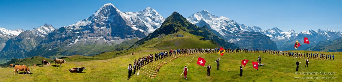 Alphornbläsertreffen auf dem Männlichen mit Blick auf Eiger, Mönch und Jungfrau