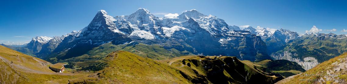 Blick vom Lauberhorn auf Eiger, Mönch und Jungfrau