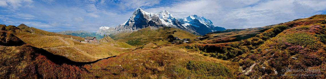 Blick von der Kleinen Scheidegg auf Eiger, Mönch und Jungfrau