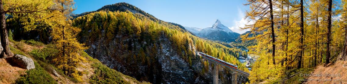 Die Gornergratbahn auf den Findelbach-Viadukt