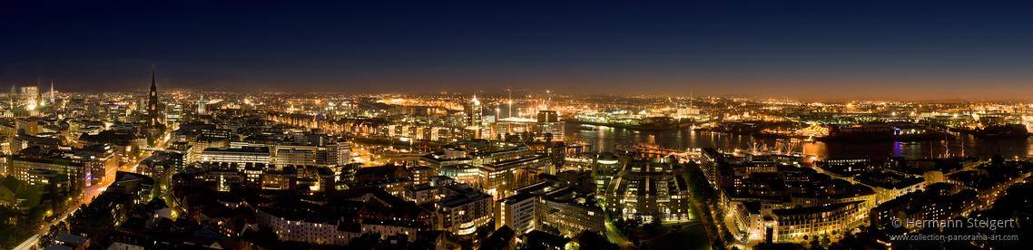 Rundblick vom Michel auf die Lichter der Stadt und des Hafens