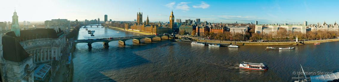 View from the top of London Eye with Westminster Bridge and the Houses of Parliament