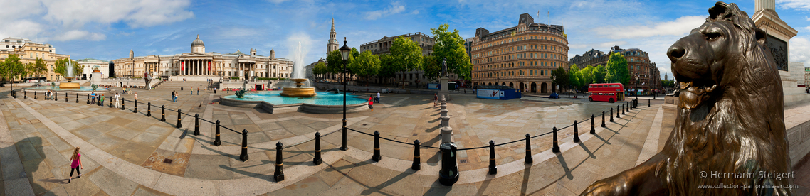 View of Trafalgar Square with the National Gallery in the background and the Nelson Column hidden on the right