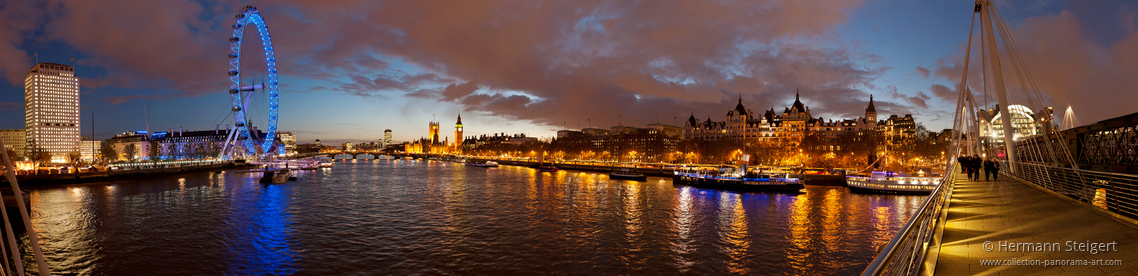 View of the Thames from Hungerford Bridge in the evening