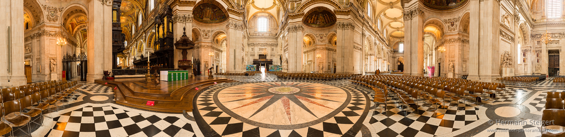 View of the cathedral floor under the dome