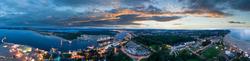 360 Grad Panorama vom Strandhotel Maritim auf das Lichterspiel an der Travemuendung