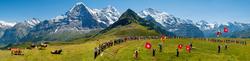 Alphornblaesertreffen auf dem Maennlichen mit Blick auf Eiger, Mönch und Jungfrau