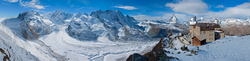 Gornergrat mit Blick auf Gornergletscher, 3100 Kulmhotel Gornergrad und Matterhorn